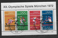 GERMANY, 1972 OLYMPIC , SPORTS , SOUVENIR SHEET W/1ST DAY CANCEL, PERF , CTO/NH