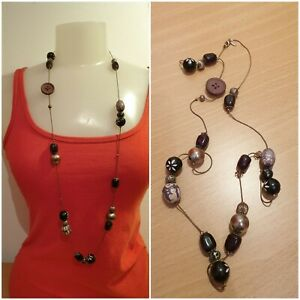 NEXT Long Statement Necklace with mixed/button Beads. Brown/Black/Silver/Purple