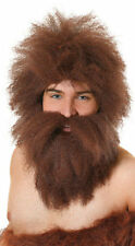 Cave Man Brown Wig + Beard Stoneage Flintstones Caveman Fancy Dress