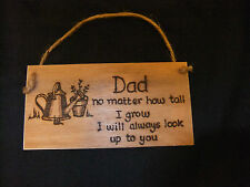 Personalised plaque -Gardening Dad gift- keepsake - pyrography-father's day