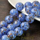New 5pcs 14mm Lampwork Glass Dots Loose Spacer Round Beads Charms Deep Blue