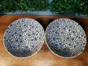 SET of 2 Japanese Chinese 3'D Rice Soup Bowl Blue  Made in Japan