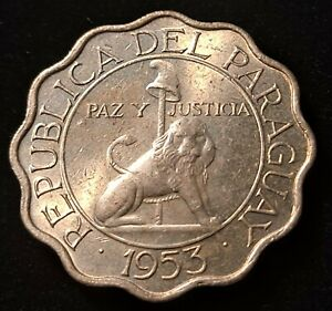 1953 Paraguay 25 Centimos Nice Coin