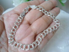 "Sterling Silver - 8mm Double Link Curb CHARM Chain 7.2g - Bracelet (7.0"") Unisex"