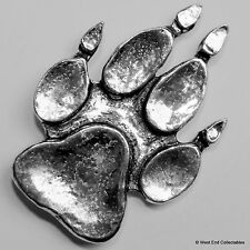 Paw Print Pewter Brooch Pin - British Artisan Signed- Fox Wolf Dog Gift Present