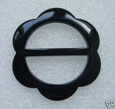 LU04 Black Lucite Resin Flower Belt Buckle Accesory/Jewelry