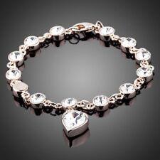 18K Gold GP Made With Ball Chain Heart Swarovski Crystal Elements Bangle Bracele