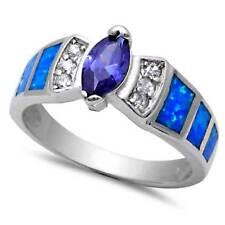 Marquise Cut Tanzanite CZ & Blue Lab Opal w/ CZ accents_925 STERLING SILVER_SZ-6