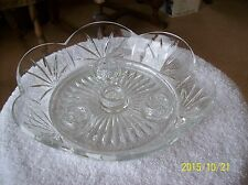 Crystal Vintage Four Candle Scalloped Glass Bud Bowl Centerpiece