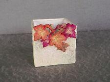 AUTUMN LEAVES PLANTER Square Ceramic Earthtones TRINKET JAR Candle Holder