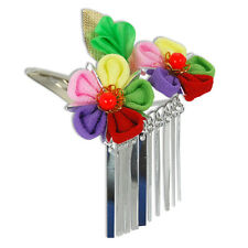 Japanese Hair Ornament Kanzashi Silk Flowers Silver Links Small Hair Clip