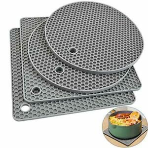 Silicone Pot Holders Trivets Mats Hot Pads Gripper Heat Resistant Non Slip Gray