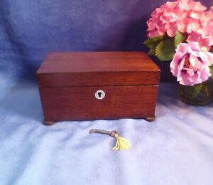 Victorian 19th Century Mahogany Tea caddy with Mother of Pearl & Key