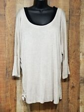 Ambiance Apparel Shirt Plus size 2x Womens Oatmeal Tan Dolman Sleeve NWT