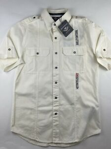 HARLEY DAVIDSON Mens Short Sleeve White  Pocket Snap Button Up Logo Shirt NEW MD