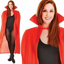 Adults Unisex Ladies Red 142cm Devil Vampire Fancy Dress Cape Collar Halloween