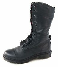Dr. Martens Women's Flowers Triumph 1914 W Boot Black Leather Size 8 UK 10 US
