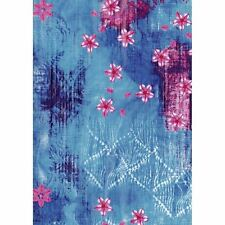 Decopatch Decoupage Printed Paper Turquoise Background Pink Flowers