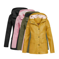 Women Ladies Raincoat Wind Waterproof Jacket Hooded Rain Mac Outdoor Poncho HO