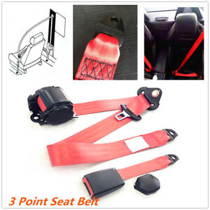 Adjustable Retractable Red Car Seat Belt Lap Belt 3Point Safety Strap 26700N Set