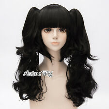 Lolita Lady Black Anime Party Cosplay Wig with Long 60CM Curly Ponytails