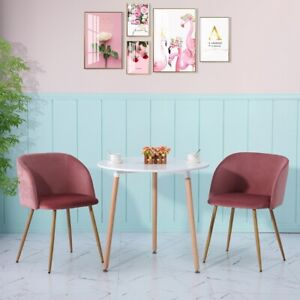 Round Dining Table and 2 Velvet Chairs wooden Modern Cafe Small Kitchen Set New