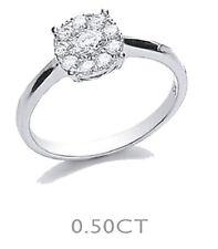 9 Carat Engagement Cluster White Gold Fine Diamond Rings