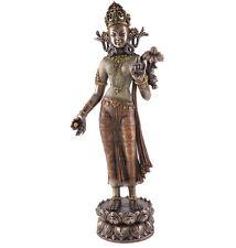 "12.25"" Green Tara w/ Lotus of Wisdom Statue Sculpture Figure Eastern Deity Decor"