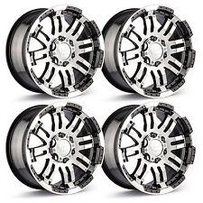 "Set 4 18"" 6 Lug Vision Warrior Wheels Black/Machined Fits Chevy GMC Trucks 6x5.5"