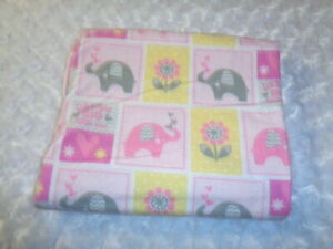 "Handmade Flannel ""Girls elephants "" Receiving Baby Blanket"