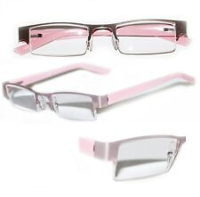 Reading Glasses BRUSHED METAL Top Only POSH Girly PINK Frame Narrow Lens +2.50