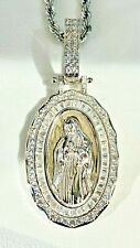 Men's 925 Sterling Silver Oval Virgin Mother Mary Guadalupe Pendant Rope Chain