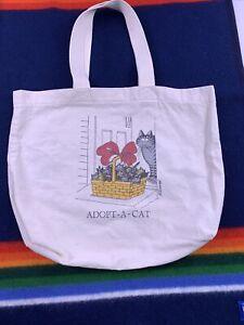 "B Kliban Kitty Adopt-A-Cat  Canvas Tote Bag 19"" X 14"" Vtg 80s Comic Cartoon"