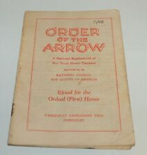 BSA - OA…RITUAL FOR THE ORDEAL (FIRST) HONOR…1948 PRINTING