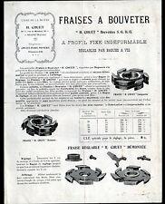 """NEVERS (58) USINE de LA MOTTE / OUTILS pour MACHINES à BOIS """"H. CHUET"""" Tract"""