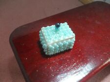 PRETTY BLUE BEADED JEWELLERY BOX FOR A DOLLS HOUSE