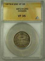 1872-H Canada Silver Quarter 25c ANACS VF-35 JMX