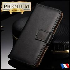 Etui Cuir housse coque Genuine Split Leather Stand Wallet case Sony Xperia X