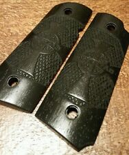 Compact 1911 Walnut Wood Grips w/ Celtic Cross-Veritas & Aequitas, Stained Black
