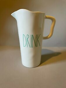 "Rae Dunn Melamine Pitcher ""DRINK"", Teal lettering Indoor/Outdoor  9""   free ship"