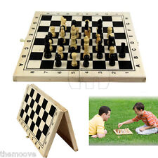 Classic Wooden Chess Set Board Game Foldable Portable Travel Kids Fun Gift AU
