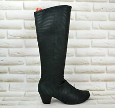 ARCHE Womens Black Leather Knee High Long Heeled Boots Shoes Size 5 UK 38 EU