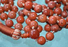 8 mm Red Jasper Handmade Mala Beads Necklace -Blessed Karma, Nirvana, Meditation