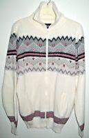Icelandic Cardigan Zip Front Ski Sweater Nordic Jacket Unisex pockets size large