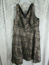 Coldwater Creek Dress Size 24 Brown Floral Back Zipper Sleeveless Lined Beaded