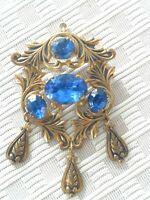 Vintage Estate Find Combination Brooch/Pendant gold tone with Blue Stones LARGE