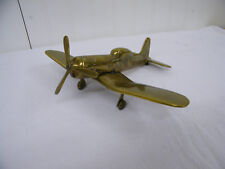 Vintage Solid Brass WWII Fighter Desk Statue / Paper Weight