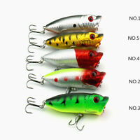 5pcs Hard Plastic Popper Topwater Floating Fishing Lures Baits Hooks Tackle 6cm