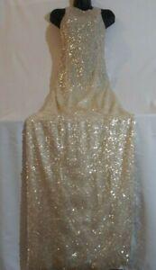 GALVAN LONDON Gold Sequin Embellished Sleeveless Maxi Evening Gown Dress UK