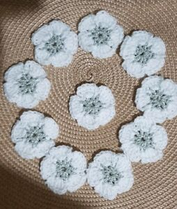 10 Silver & White Crochet  Flowers Granny Squares Blankets Cushions  2 inchez